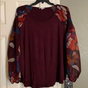 super cute floral sheer sleeve top